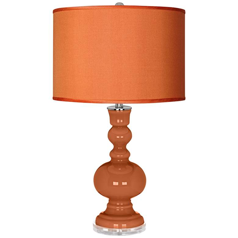 Robust Orange - Orange Faux Silk Shade Apothecary Table Lamp