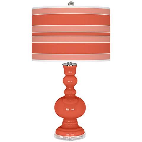 Daring Orange Bold Stripe Apothecary Table Lamp