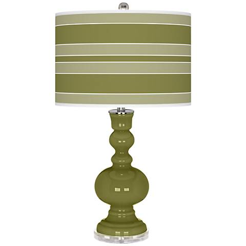 Rural Green Bold Stripe Apothecary Table Lamp