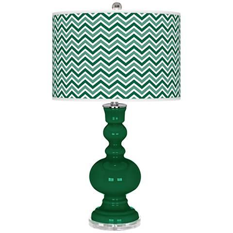Greens Narrow Zig Zag Apothecary Table Lamp