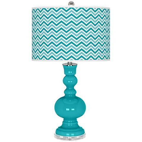 Surfer Blue Narrow Zig Zag Apothecary Table Lamp