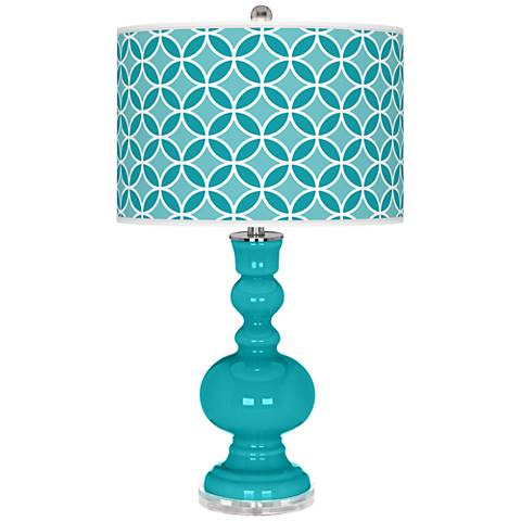 Surfer Blue Circle Rings Apothecary Table Lamp
