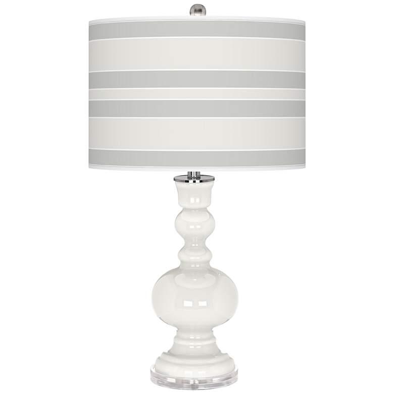 Winter White Bold Stripe Apothecary Table Lamp