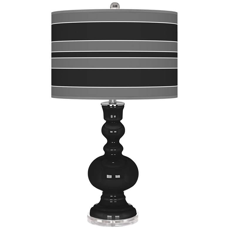 Tricorn Black Bold Stripe Apothecary Table Lamp