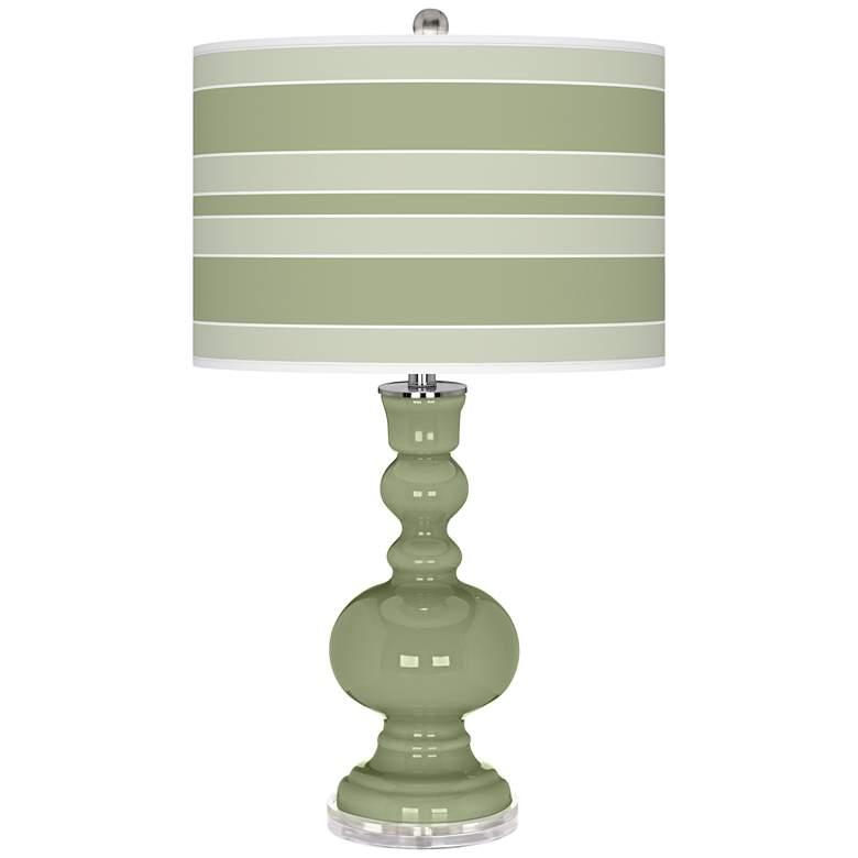 Majolica Green Bold Stripe Apothecary Table Lamp