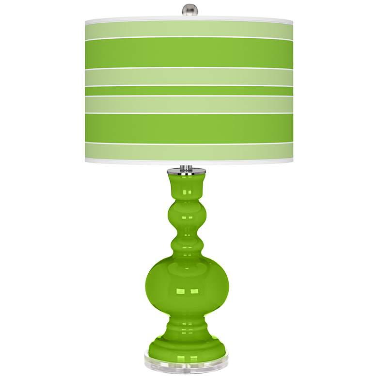 Neon Green Bold Stripe Apothecary Table Lamp