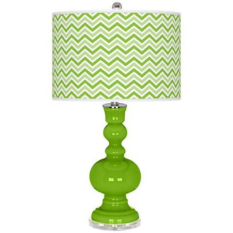 Neon Green Narrow Zig Zag Apothecary Table Lamp