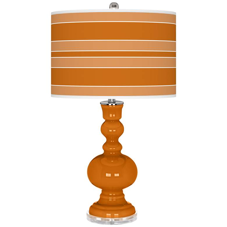 Cinnamon Spice Bold Stripe Apothecary Table Lamp
