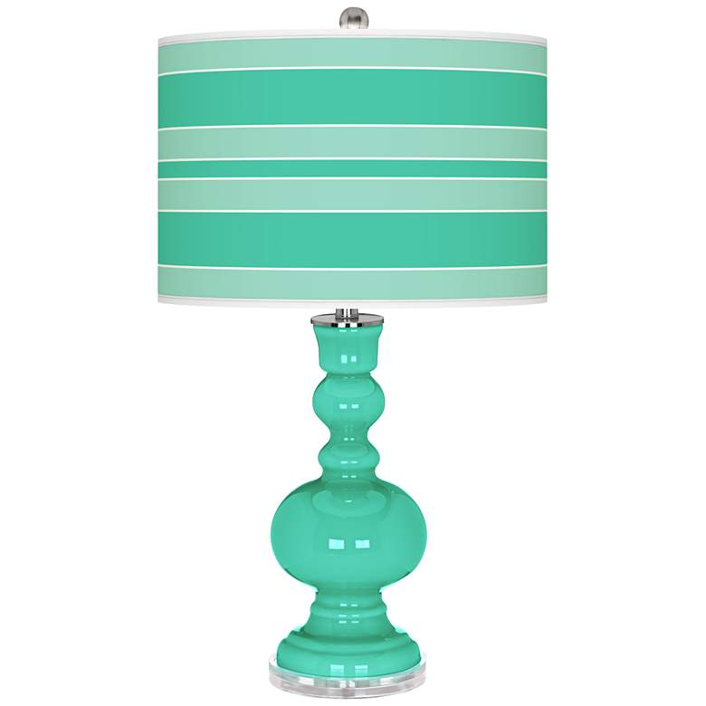 Turquoise Bold Stripe Apothecary Table Lamp
