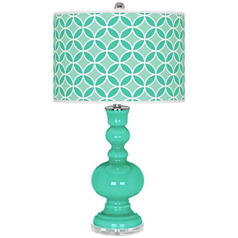 Turquoise Circle Rings Apothecary Table Lamp
