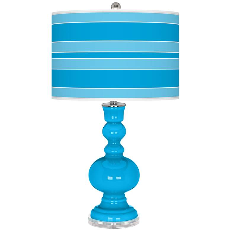 Sky Blue Bold Stripe Apothecary Table Lamp
