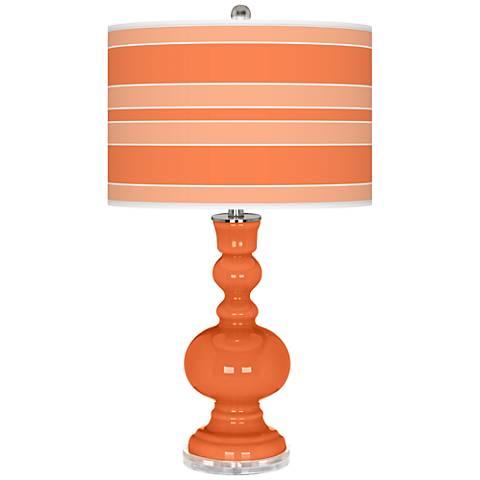 Nectarine Bold Stripe Apothecary Table Lamp