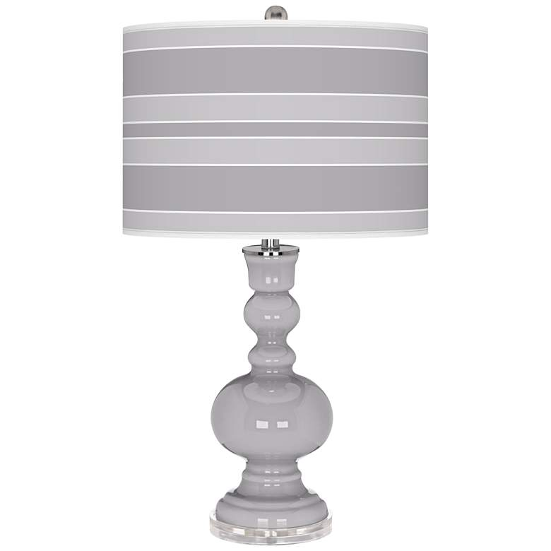 Swanky Gray Bold Stripe Apothecary Table Lamp