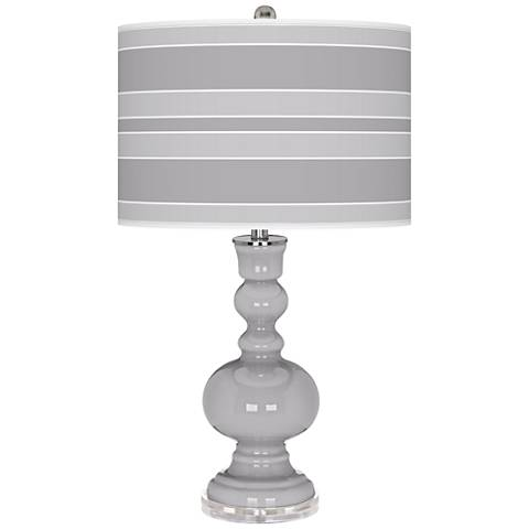 Swanky Gray Bold Stripe Apothecary Table Lamp