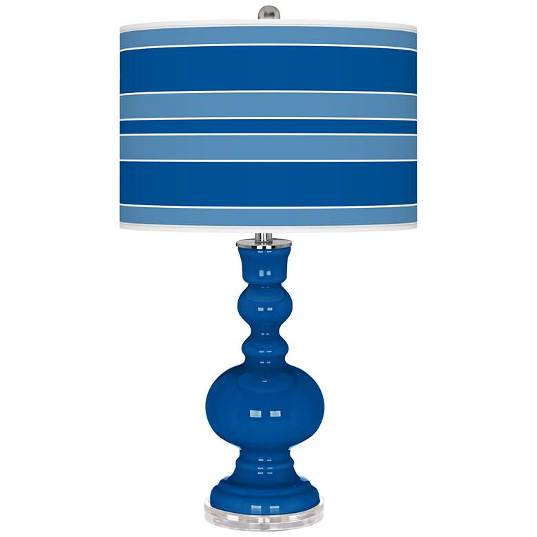 Hyper Blue Bold Stripe Apothecary Table Lamp