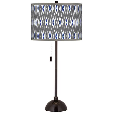 American Ikat Giclee Glow Tiger Bronze Club Table Lamp