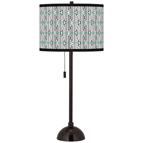 Indigenous Giclee Glow Tiger Bronze Club Table Lamp