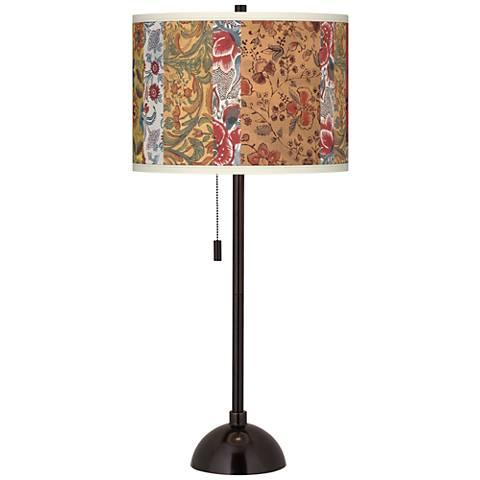 Bohemian Blooms Giclee Glow Tiger Bronze Club Table Lamp