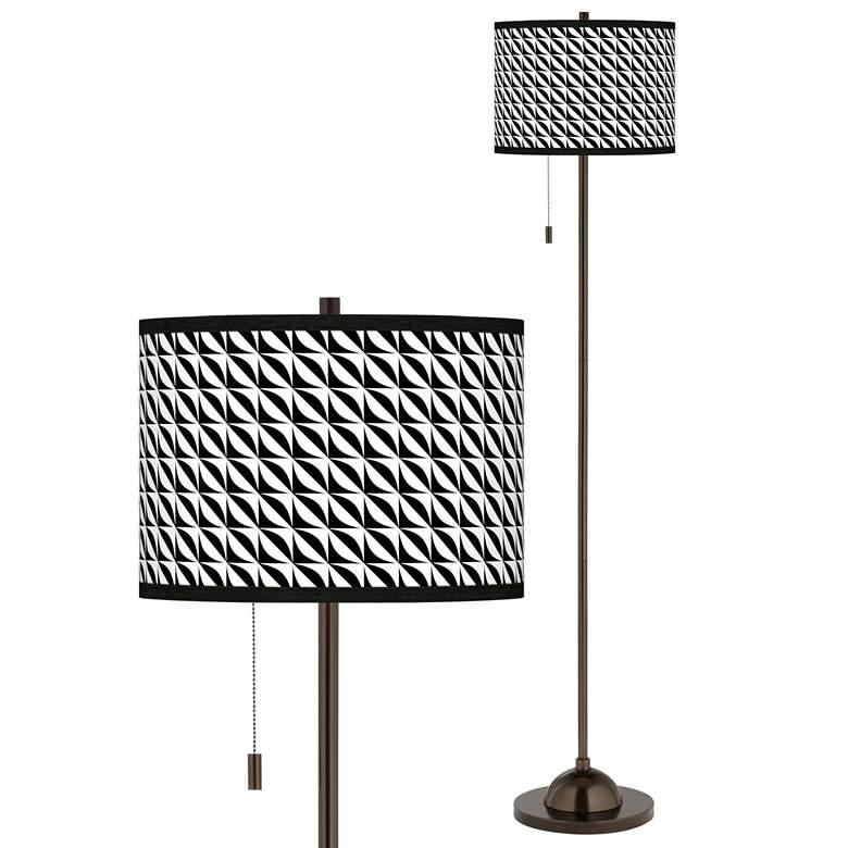 Waves Giclee Glow Bronze Club Floor Lamp