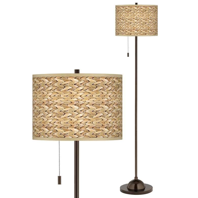 Seagrass Print Pattern Giclee Glow Bronze Club Floor Lamp