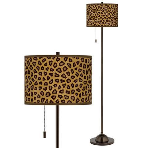 Safari Cheetah Giclee Glow Bronze Club Floor Lamp