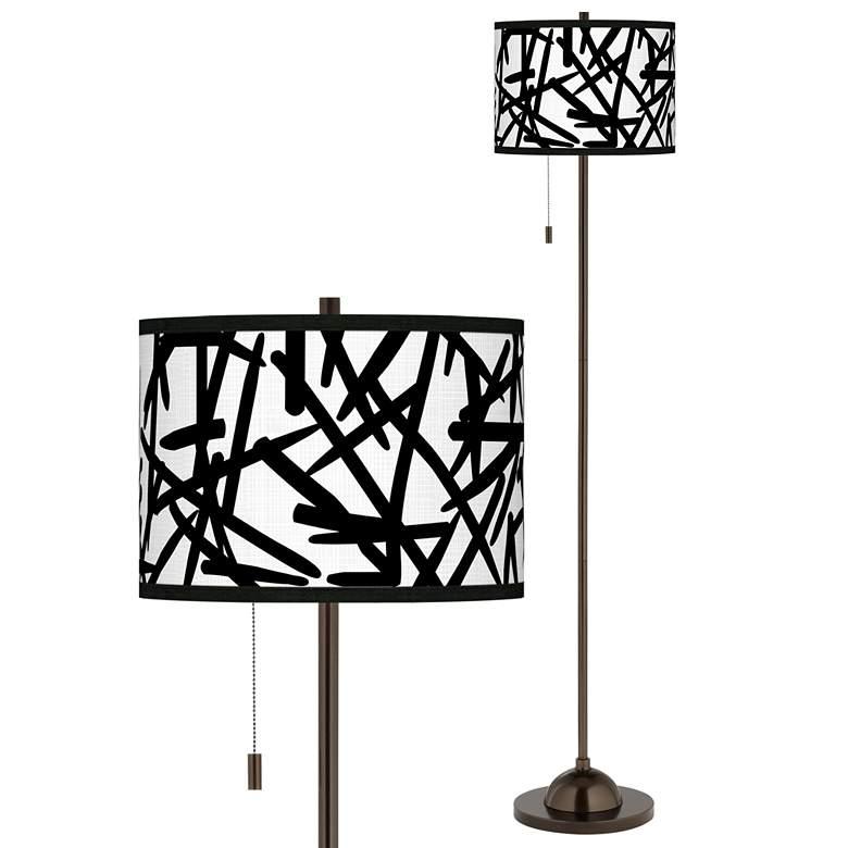 Sketchy Giclee Glow Bronze Club Floor Lamp