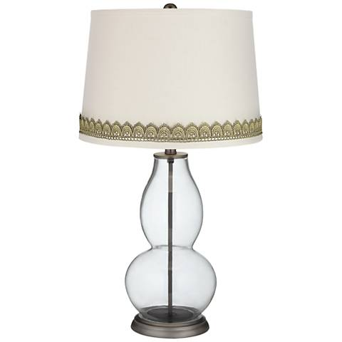 Clear Fillable Double Gourd Table Lamp with Scallop Lace Trim