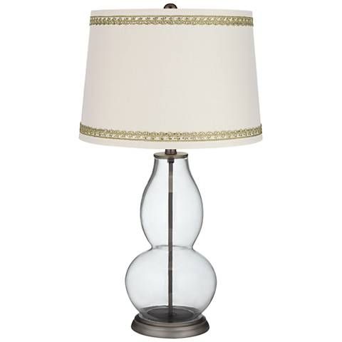 Clear Fillable Double Gourd Table Lamp with Rhinestone Lace Trim