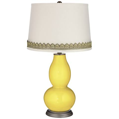 Lemon Twist Double Gourd Table Lamp with Scallop Lace Trim