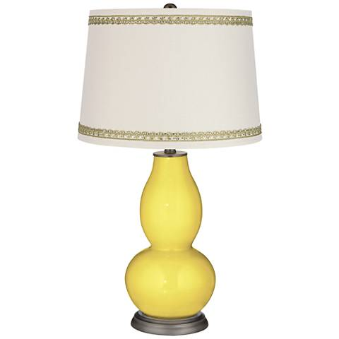 Lemon Twist Double Gourd Table Lamp with Rhinestone Lace Trim