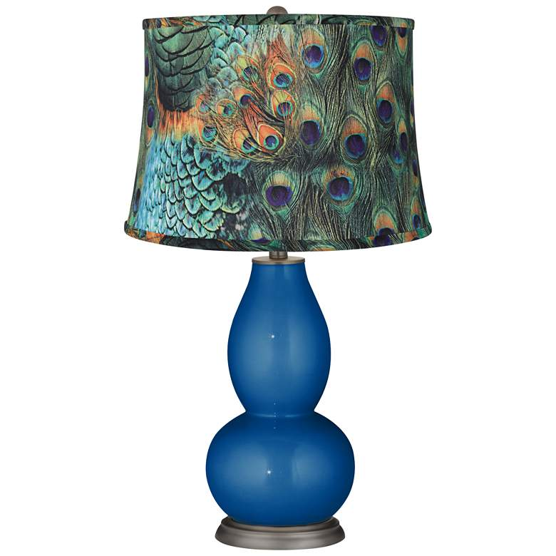 Ocean Metallic Peacock Print Double Gourd Table Lamp