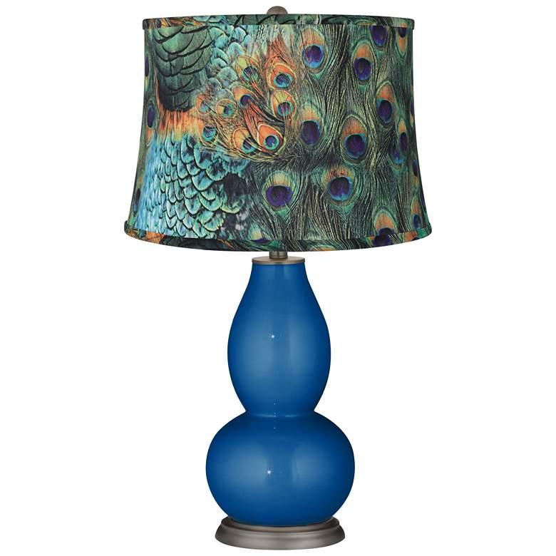Ocean Metallic Peacock Print Double Gourd Table Lamp
