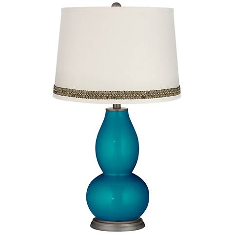 Turquoise Metallic Double Gourd Table Lamp with Wave Braid Trim