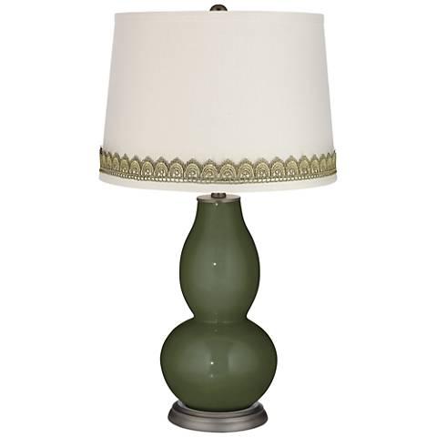 Secret Garden Double Gourd Table Lamp with Scallop Lace Trim
