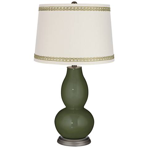 Secret Garden Double Gourd Table Lamp with Rhinestone Lace Trim