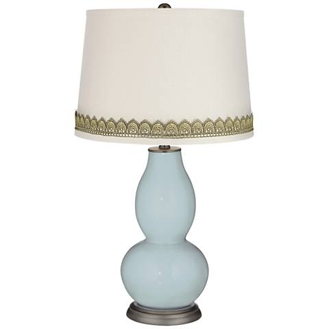 Rain Double Gourd Table Lamp with Scallop Lace Trim