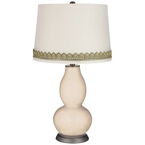 Steamed Milk Double Gourd Table Lamp with Scallop Lace Trim