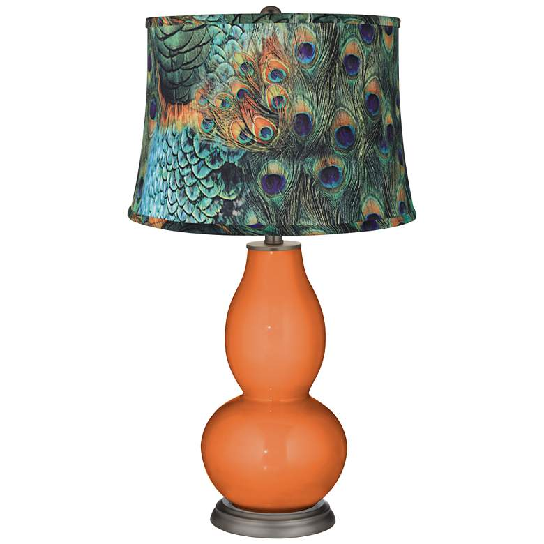 Celosia Orange Peacock Print Double Gourd Table Lamp