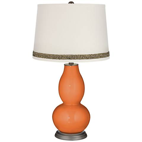 Celosia Orange Double Gourd Table Lamp with Wave Braid Trim