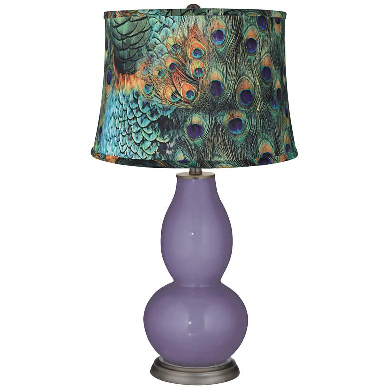 Purple Haze Peacock Print Shade Double Gourd Table Lamp