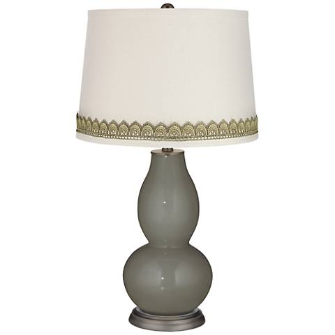 Gauntlet Gray Double Gourd Table Lamp with Scallop Lace Trim