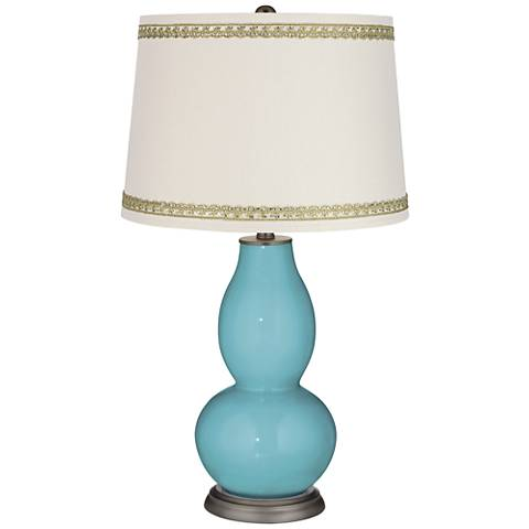 Nautilus Double Gourd Table Lamp with Rhinestone Lace Trim