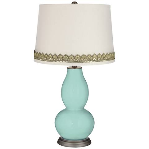Cay Double Gourd Table Lamp with Scallop Lace Trim