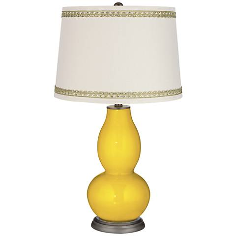 Citrus Double Gourd Table Lamp with Rhinestone Lace Trim