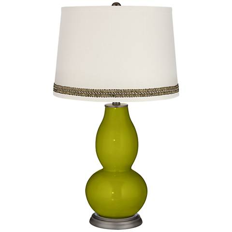 Olive Green Double Gourd Table Lamp with Wave Braid Trim