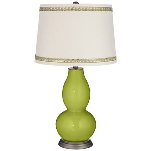 Parakeet Double Gourd Table Lamp with Rhinestone Lace Trim
