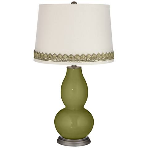 Rural Green Double Gourd Table Lamp with Scallop Lace Trim