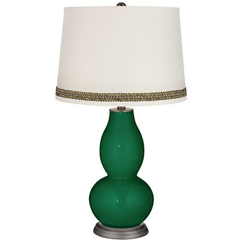 Greens Double Gourd Table Lamp with Wave Braid Trim