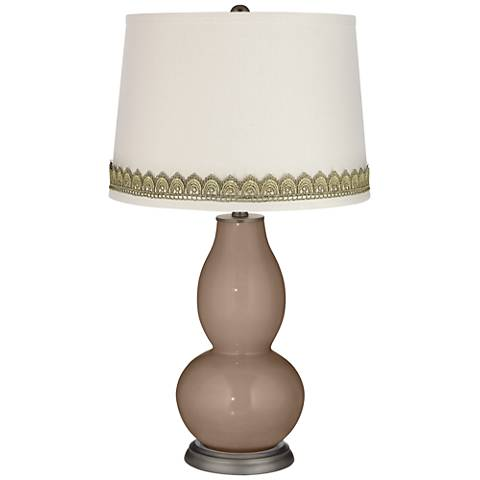 Mocha Double Gourd Table Lamp with Scallop Lace Trim