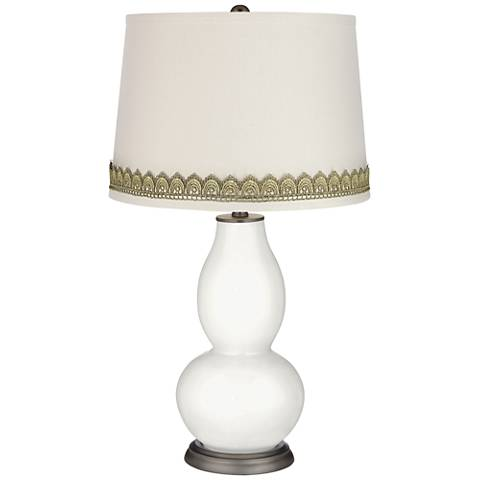 Winter White Double Gourd Table Lamp with Scallop Lace Trim